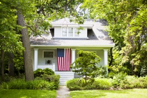 American Home with us flag for 4 of july